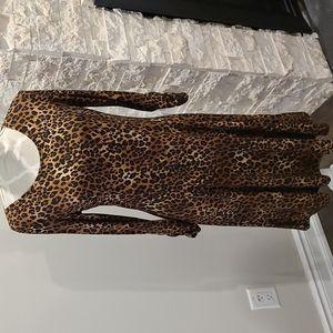 NWT Nina Leonard fit & flare Leopard print dress